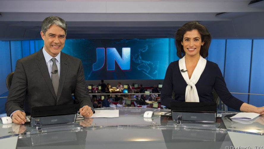 William Bonner e Renata Vasconcellos no comando do Jornal Nacional.